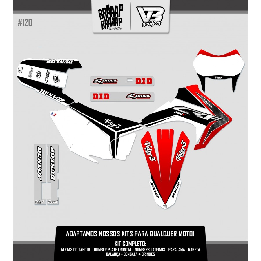 Kit Gráfico VETOR 3 Honda CRF 230 #120 Resinado