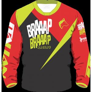 Camisa Piloto Braaap Braaap Infantil Vermelha