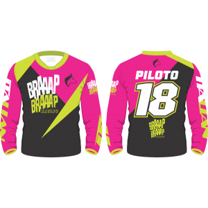 Camisa Piloto Braaap Braaap Racing Pink