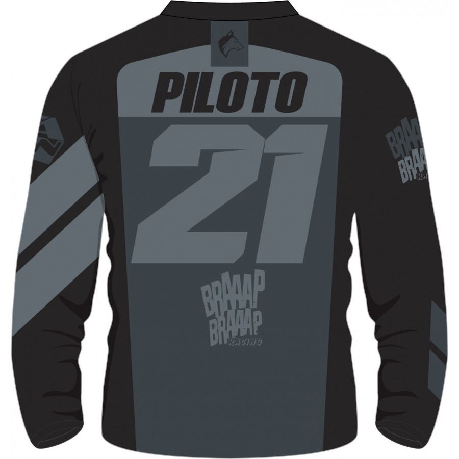 Camisa Piloto Braaap Braaap Cinza 21