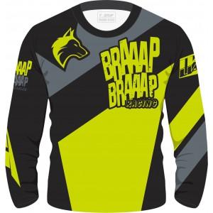 Camisa Piloto Braaap Braaap Racing Verde Fluorescente