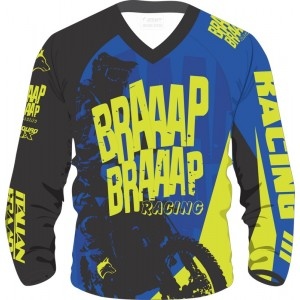 Camisa Piloto Braaap Braaap Racing Azul/Verde