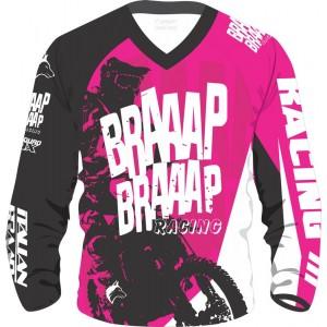Camisa Piloto Braaap Braaap Racing Rosa