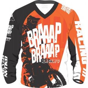 Camisa Piloto Braaap Braaap Racing Laranja