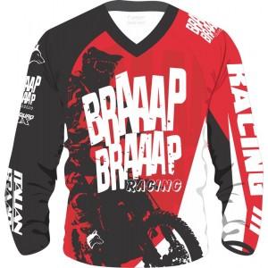 Camisa Piloto Braaap Braaap Racing Vermelho